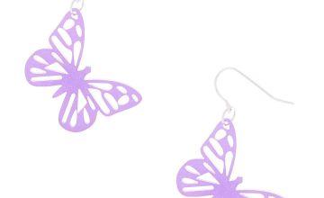 """Go to Product: Silver 1"""" Glitter Butterfly Drop Earrings - Purple"""