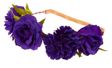 Go to Product: Glitter Rose Flower Crown Headwrap - Purple
