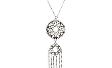 Go to Product: Silver Boho Medallion Long Pendant Necklace