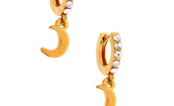 Go to Product: 18kt Gold Plated Dangle Moon Hoop Earrings