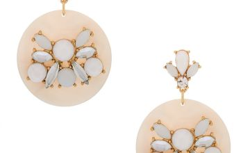 "Go to Product: Gold 2"" Embellished Drop Earrings - White"