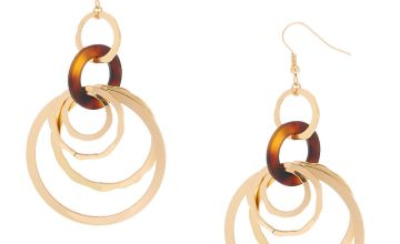 "Go to Product: Gold 2.5"" Round Link Resin Tortoiseshell Drop Earrings - Brown"