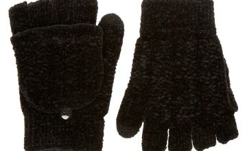 Go to Product: Chenille Fingerless Gloves With Mitten Flap - Black