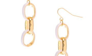 "Go to Product: Gold 1.5"" Enamel Link Drop Earrings - White"