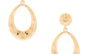 "Go to Product: Gold 2"" Hammered Drop Earrings"