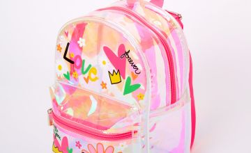 Go to Product: Iridescent Love Doodle Small Backpack - Clear