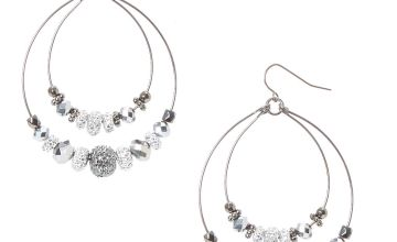 Go to Product: Hematite and Silver Caviar Beaded Double Hoop Earrings