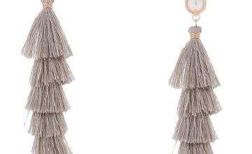 "Go to Product: 2.5"" Tiered Tassel Drop Earrings - Grey"