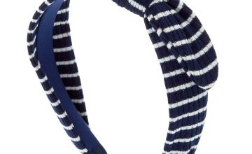 Go to Product: Ribbed Striped Knotted Bow Headband - Navy