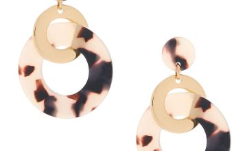 "Go to Product: Gold 2"" Resin Tortoiseshell Ring Link Drop Earrings"