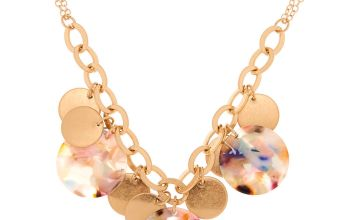 Go to Product: Gold Resin Painted Disk Statement Necklace