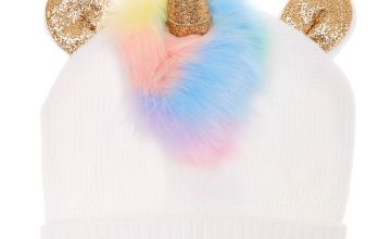 Go to Product: Rainbow Faux Fur Unicorn Beanie - White