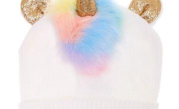 Go to Product: Rainbow Faux Fur Unicorn Beanie - White