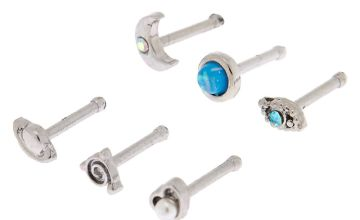 Go to Product: Silver 20G Celestial Nose Studs - Turquoise, 6 Pack