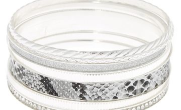 Go to Product: Silver Snake Skin Bangle Bracelets - 7 Pack