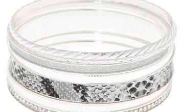Go to Product: Silver Snake Skin Bangle Bracelets - 7 Pack