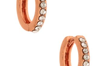 Go to Product: 18kt Rose Gold Plated 10MM Embellished Huggie Hoop Earrings