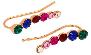 "Go to Product: Rose Gold 1"" Rainbow Graduated Crystal Ear Crawler Earrings"