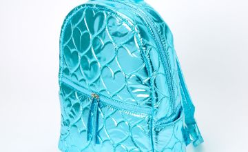 Go to Product: Metallic Quilted Heart Medium Backpack - Blue