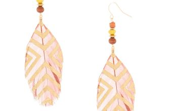 "Go to Product: 4"" Feather Bead Drop Earrings - Brown"