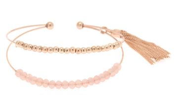 Go to Product: Gold Beaded Tassel Cuff Bracelet - Pink