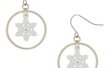 "Go to Product: 1"" Snowflake Hoop Drop Earrings - White"