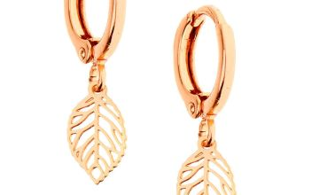 Go to Product: 18kt Rose Gold Plated Leaf Huggie Hoop Earrings