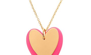 Go to Product: Gold Neon Double Heart Long Pendant Necklace - Pink