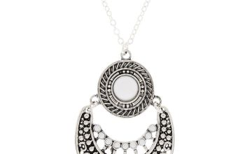 Go to Product: Silver Beaded Medallion Long Pendant Necklace - White