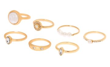 Go to Product: Brushed Gold Pearl Rings - 7 Pack