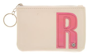 Go to Product: White Faux Leather Pink Initial Coin Purse - R