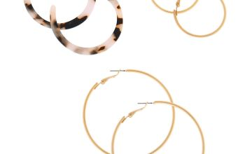 Go to Product: Gold Graduated Tortoiseshell Hoop Earrings - White, 3 Pack