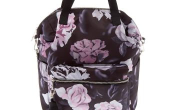 Go to Product: Floral Quilted Double Handle Backpack - Black