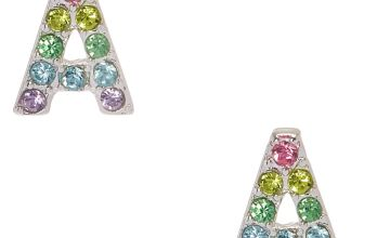 Go to Product: Pastel Gem Initial Letter A Silver Tone Stud Earrings