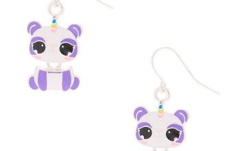 "Go to Product: 1"" Charlie the Panda Drop Earrings - Purple"