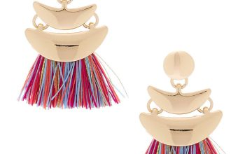 "Go to Product: Gold 1"" Rainbow Tassel Drop Earrings"