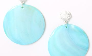 """Go to Product: Silver 2"""" Seashell Disc Drop Earrings - Mint"""