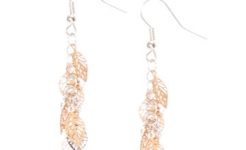 "Go to Product: Silver & Gold 2"" Leaf Drop Earrings"