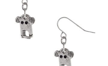 "Go to Product: Silver 1"" Elephant Drop Earrings"