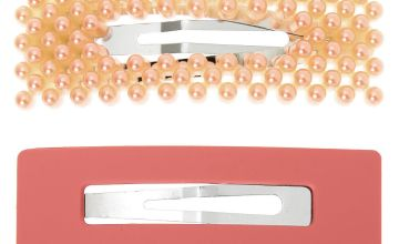 Go to Product: Beaded Matte Rectangle Snap Hair Clips - Blush Pink, 2 Pack