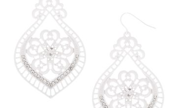 "Go to Product: 2"" Crochet Chandelier Drop Earrings - White"