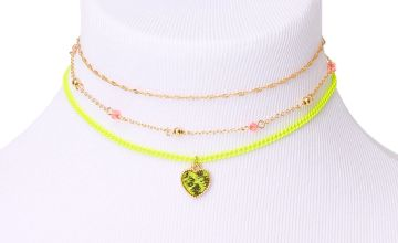 Go to Product: Gold Snakeskin Heart Choker Necklaces - Neon Yellow, 3 Pack