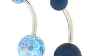 Go to Product: Silver 14G Mixed Matte Belly Rings - Navy, 2 Pack