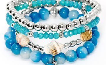 Go to Product: Silver Conch Shell Beaded Stretch Bracelets - Blue, 4 Pack