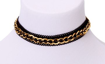 Go to Product: Gold Fishnet Chain Choker Necklace - Black