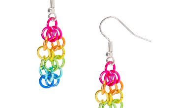 "Go to Product: Silver 1.5"" Rainbow Chain Link Drop Earrings"