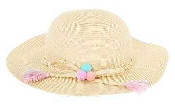 Go to Product: Claire's Club Pom Pom Floppy Straw Hat - Tan