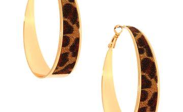 Go to Product: Gold 60MM Glitter Leopard Hoop Earrings