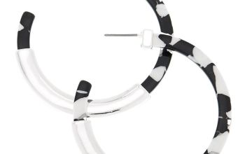 Go to Product: Silver 60MM Spotted Hoop Earrings - Black