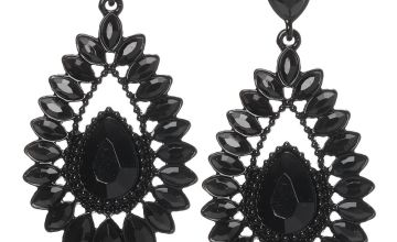 "Go to Product: 2.5"" Crystal Teardrop Drop Earrings - Black"